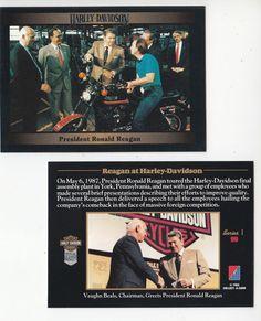 President Ronald Reagan Visits Harley-Davidson Factory Motorcycle Photo CARD…
