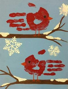 Winter bird finger paint art work