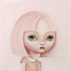 She, girl portrait, pop surrealism Art PRINT, oil painting, big eyed, queer art fairy tale, ooak blythe, girl portrait,pink pastel painting