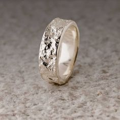 bush-hammered marble textured sterling wedding ring