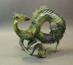 Green Dragon original OOAK sculpture by creaturesfromel on Etsy Fantasy Dragon, Dragon Art, Fantasy Art, Fantasy Creatures, Mythical Creatures, Ellen Jewett, Green Dragon, Arte Popular, Japanese Artists