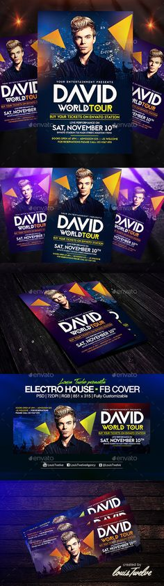Electro House Flyer + FB Cover Template PSD   Buy and Download: http://graphicriver.net/item/electro-house-flyer-template-fb-cover/8934948?WT.ac=category_thumb&WT.z_author=LouisTwelve-Design&ref=ksioks