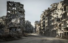 The destroyed neighbourhood of Khalidiya in the Old City of Homs, Syria Countries Around The World, Around The Worlds, Old City, Syria, World War, New York Skyline, The Neighbourhood, Old Things, Travel