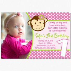 Mod Monkey Birthday Invitation by PuggyPrints on Etsy