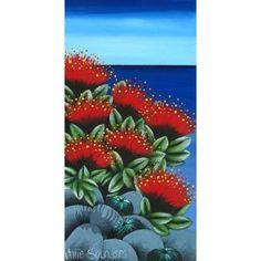 Small Julie Saunders Print – Pohutukawa   Pohutukawa Gallery New Zealand Art, Nz Art, Kiwiana, The Beautiful Country, Teaching Art, Botanical Art, Impressionist, Art For Kids, Art Drawings