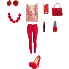 RED by smith-emily-1 on Polyvore featuring Alice + Olivia, Pieces, Christian Louboutin, Nancy Gonzalez, J.Crew, Bling Jewelry, Dolce&Gabbana, Lord & Berry and OPI
