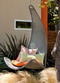 Urban Balance Curve Hanging Chair Tangerine by Outback Company Cool Swings, Swinging Chair, Cool Chairs, Outdoor Furniture, Outdoor Decor, Outdoor Spaces, Outdoor Seating, My Dream Home, Dream Homes