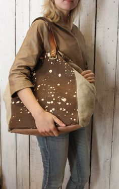 MY BAG BUBBLE Handmade Italian Leather & Canvas Tote Handbag di LaSellerieLimited su Etsy