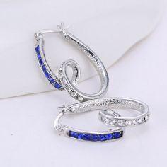 Casual Rhodium plated blue crystal hoop earrings fashion jewelry heart silver rhinestone,women earrings jewelry