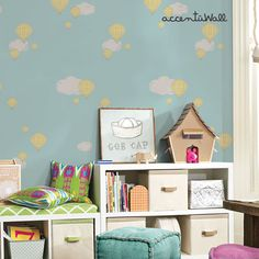 Hot Air Balloon Mint Peel & Stick Fabric Wallpaper Repositionable - Simple Shapes Wall Decals, Furniture, and Accessories Balloon Wall, Hot Air Balloon, Balloons, Wall Stickers, Wall Decals, Cleaning Walls, Traditional Wallpaper, Simple Shapes, Fabric Wallpaper