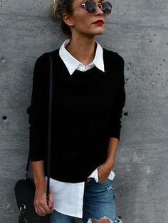 Black Fake Two Pieces Basic Collar Long Sleeves Stitching Hem Shirt
