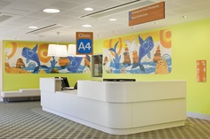 Clinic at The Royal Children's Hospital Melbourne, featuring Buro North's wayfinding strategy and custom made typeface, with illustrations by Jane Reiseger. More images of the new hospital can be found at www.newrch.vic.gov.au