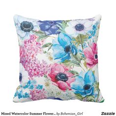 Mixed Watercolor Summer Flower Bouquet Pillow