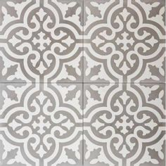 Cuba White Grey Reverse Encaustic Cement TileColours used: similar to our Havana model, this tile has slight variations in detail. If you like this pattern but you would like to Moroccon Tiles, Tile Care, Terrazzo Tile, Cement Crafts, Encaustic Tile, Wall And Floor Tiles, Color Tile, Colour, Wall Patterns