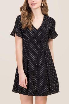Brittany Button Front Polka Dot Shirt Dress
