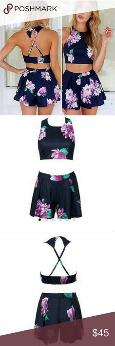 ⚡FLASH SALE⚡ · Floral Crop Top Set · Accepting REASONABLE OFFERS. LAST ONE LEFT!!! Shorts