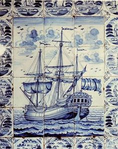 Large Antique Dutch Delft ship tile panel dated 1770.