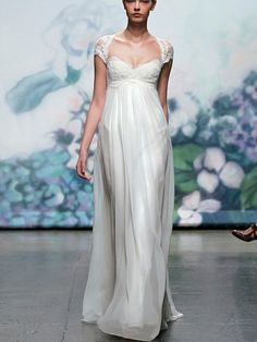 Regency Style Cap Sleeves Lace Wedding Dress with High Empire Waist