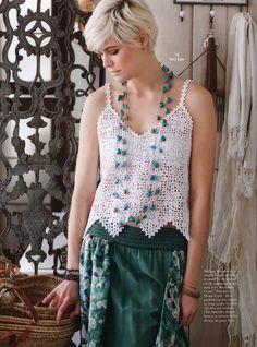 Crochetemoda: Top de Crochet/ Lace Tank ~ Pattern & Diagram/Chart in English ~ Also pattern for skirt & stockings (no photos)