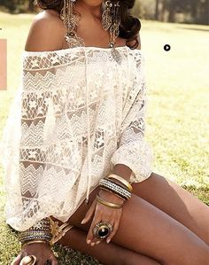 White Lace Off The Shoulder Boho Top♥ Summer Fashion. Summer Outfit