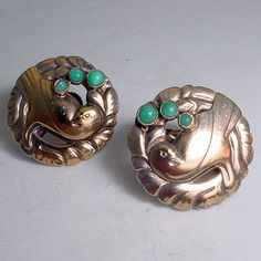 """VINTAGE GEORG JENSEN EARRINGS # 66, AMAZONITE STONES AND STERLING SILVER. SCREW BACK $650.00 Can be converted to pierced for free Condition: fine vintage, preowned Year: after 1945 Size: 1"""" diameter, the ear rings are gilt silver a rare and interesting treatment for a pair  of jensen ear rings, most likely meant to look like gold."""