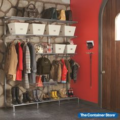 Our Freestanding Elfa components can help create the perfect mudroom solution for your family! Elfa Shelving, Shelving Systems, Standing Closet, Entryway Organization, Organized Entryway, Garage Entryway, Entryway Ideas, Container Store, Container Cabin