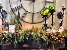 Fireplace mantle Christmas 2014