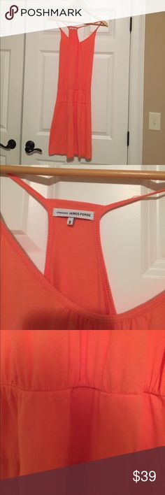 James Perse standard racer bank tank dress 3 soft Excellent condition super soft 94% supima and 6% lycra. Made in USA. Standard james perse 3. Beautiful orange coral color. I believe 3 in James Perse is a medium but please verify as i am not sure. Armpit to armpit measures about 13.5 inches. Please let me know if any questions thank you Dresses Strapless