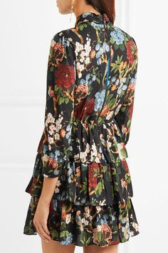 Alice Olivia - Breann Tiered Floral-print Satin-crepe Dress - Black