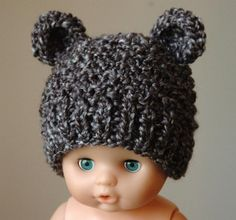 knitted hat patterns for baby boys | Baby Boy Bear Hat Knit To Match Cocoon In Neutral Charcoal Gray Photo ...