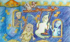 Hubert Huber - der Geist vom Oktoberfest - an der Geisterbahnfassade