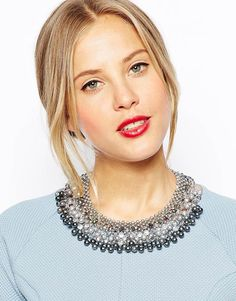 Oasis pearl facet collar necklace