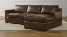 Crate And Barrel Davis Leather 2 Piece Sectional Sofa 5000