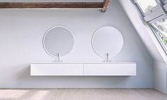 Bathtubs, wash basins, cabinets and accessories in matt white solid surface. Beautiful wood cabinets matching the matt white solid surface Bath Cabinets, Complete Bathrooms, Danish Design, Scandinavian Design, Copenhagen, Centre, Relax, Calm, Elegant
