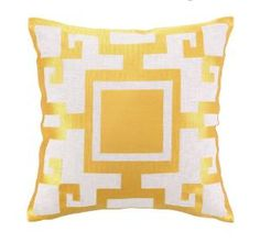 Gold Embroidered Square Pillow. Product in photo is from www.wellappointedhouse.com