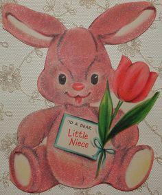 Unused Die Cut Flocked Pink Bunny 1940's Vintage Hallmark Greeting Card | eBay