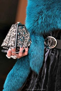Style - Essential details. Accessories make your look: Studded geometric clutch and Chanel belt.