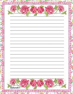 """""""Roses of love"""" Stationary Printable, Printable Lined Paper, Journal Paper, Journal Cards, Lined Writing Paper, Ruled Paper, Notebook Paper, Stationery Paper, Card Patterns"""