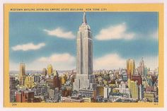 New York City Skyline, vintage postcard