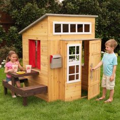 Details Now that is one fancy house! The Modern Outdoor Playhouse is a ton of fun, allowing kids to explore a whole new world without leaving the backyard. It has a hip, one-of-a-kind design and plent