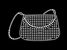 Hot fix diamante fashion handbag transfer hot iron on motif for t-shirts bags Rhinestone Jewelry, Vintage Rhinestone, Rhinestone Transfers, Background Pictures, Dot Painting, Cut Glass, Fashion Handbags, Black Backgrounds, Dog Tag Necklace