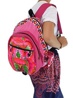Pink Backpack Schoolbag Hill Tribe Bag Embroidered Hmong Boho Ethnic Thailand
