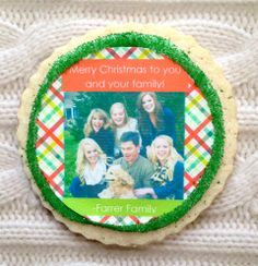 #SweetHoliday Tip: With Christmas only a month away it's time to start thinking about holiday cards. Sweeten up your traditional greetings with personalized photo cookies from Fashionably Sweet Treats! #christmascookies #cookieexchange #christmascard #personalizedcookies