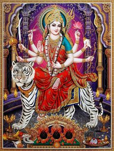 Durga Mata (via ebay: Indian_ash) Durga Ji, Saraswati Goddess, Sanskrit, Happy Navratri Images, Avatar Poster, Photo Art Gallery, Shiva Parvati Images, Kali Mata, Mata Rani