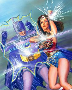 Adam West as Batman and Lynda Carter as Wonder Woman by Alex Ross Comic Book Artists, Comic Book Characters, Comic Character, Comic Books Art, Comic Art, Comic Pics, Wonder Woman Kunst, Wonder Woman Art, Wonder Women