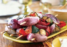 Grilled Vegetables with Mint Raita - definitely cut the sauce recipe in half!  Will also put all the same types of veggies on skewers together next time, since they all take a little different grilling times.  Then load them all into a serving bowl.