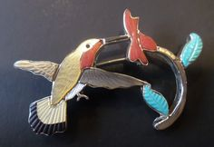Zuni, Sterling Silver, Signed, Turquoise, Red Coral, MOP and Natural Gemstones Hummingbird Pendant Brooch. by Bestintreasures on Etsy