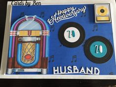 Male Birthday Card with Jukebox and Vinyl Records by Banovwe Shakarho: 20th Anniversary card made using 5x7 card. Backing paper and jukebox…