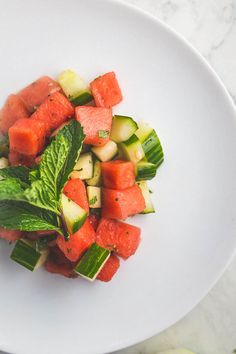 This Whole30 watermelon cucumber salad is a fresh, summery side dish!