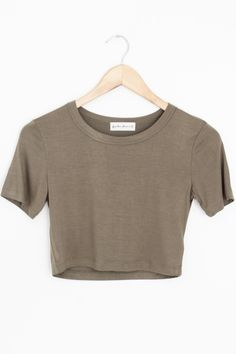 """- Details - Size - Shipping - • 95% Rayon 5% Spandex • Plain Jane crew neck crop tee. Soft stretch fabric. • Hand Wash • Line dry • Imported • Measured from small • Length 15"""" • Chest 13.5"""" • Waist 13"""